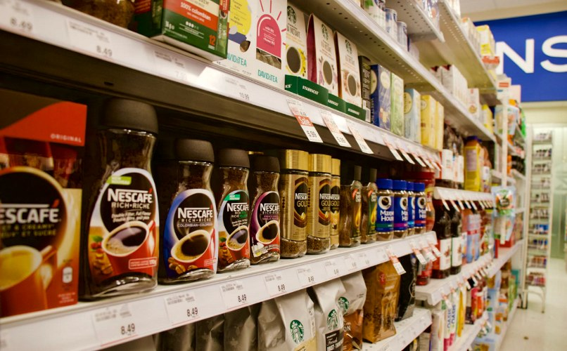 Coffee section of the grocery store