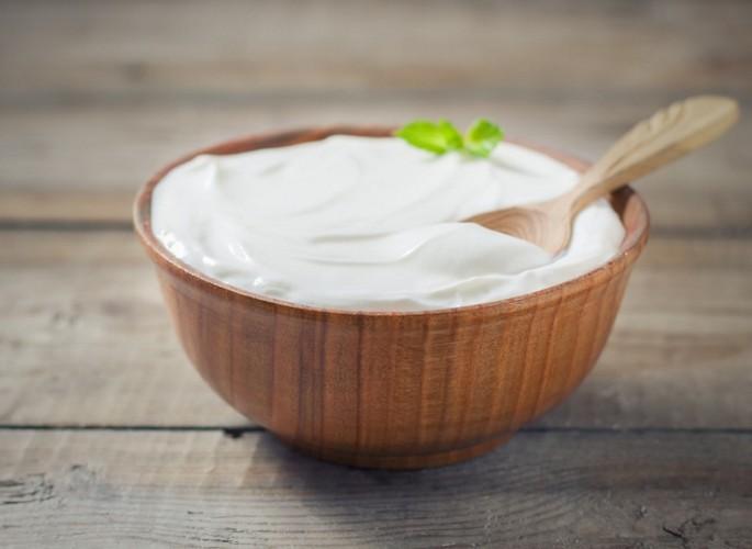 Yogurt starter in a wooden bowl