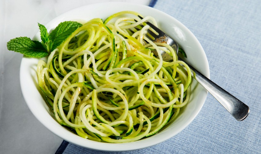 Zucchini noodles dish in a bowl