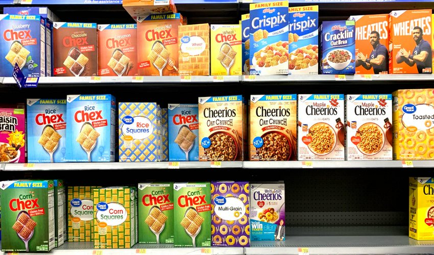 Various cereal products on shelves