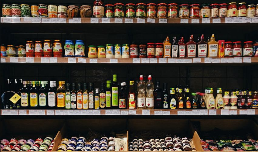Condiment aisle in the grocery store