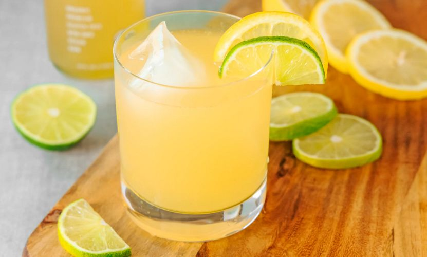Chilled lemon juice in a glass cup