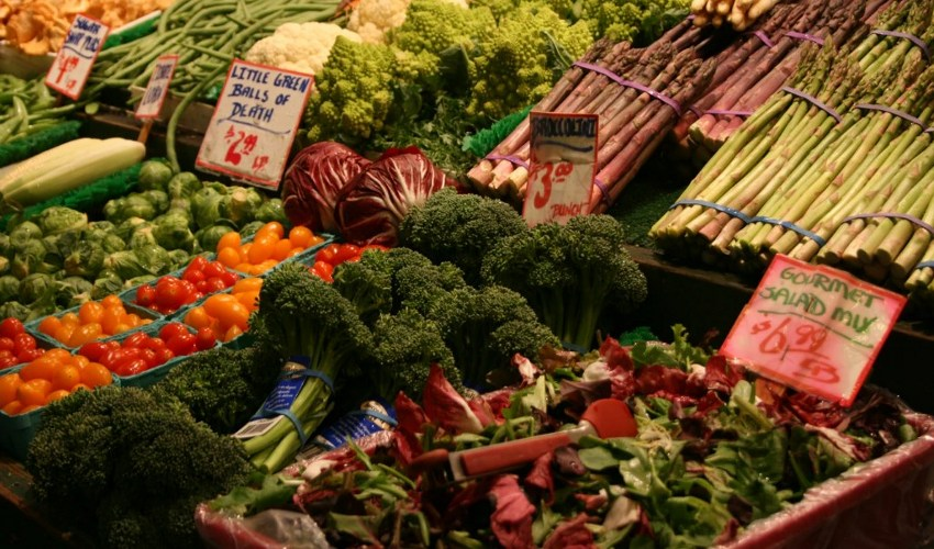 Vegetables arranged in the Produce aisle of the grocery store