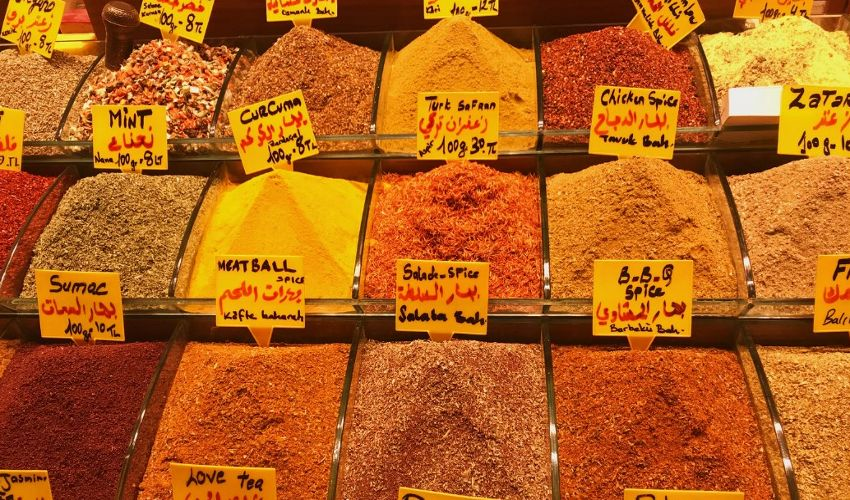 Spice aisle of the grocery store
