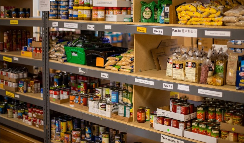A food bank containing food items