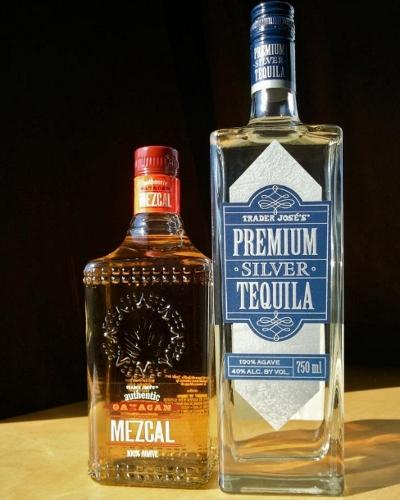 Two bottles of Trader Joe's tequila brands