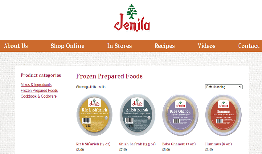 Jemila grocery store website homepage