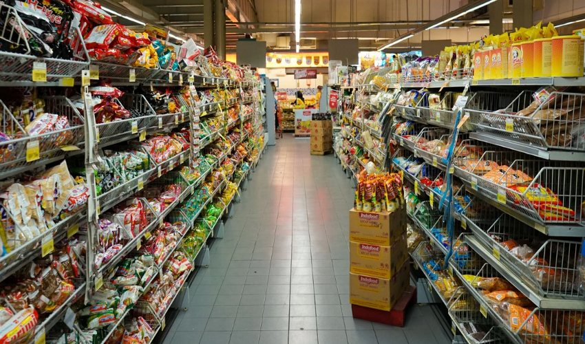 Pasta and noodles aisle in the grocery store