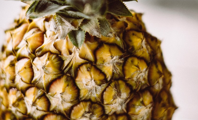 Close up shot of pineapple shell