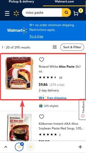 Search results page of Miso paste products on Walmart