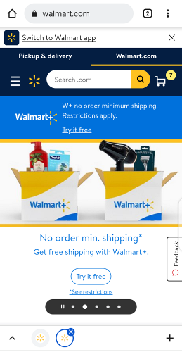 Mobile view of the official Walmart website